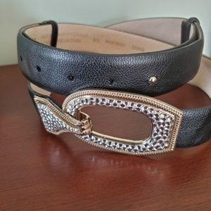 Chico's Black Leather Sliding Adj Belt M/L